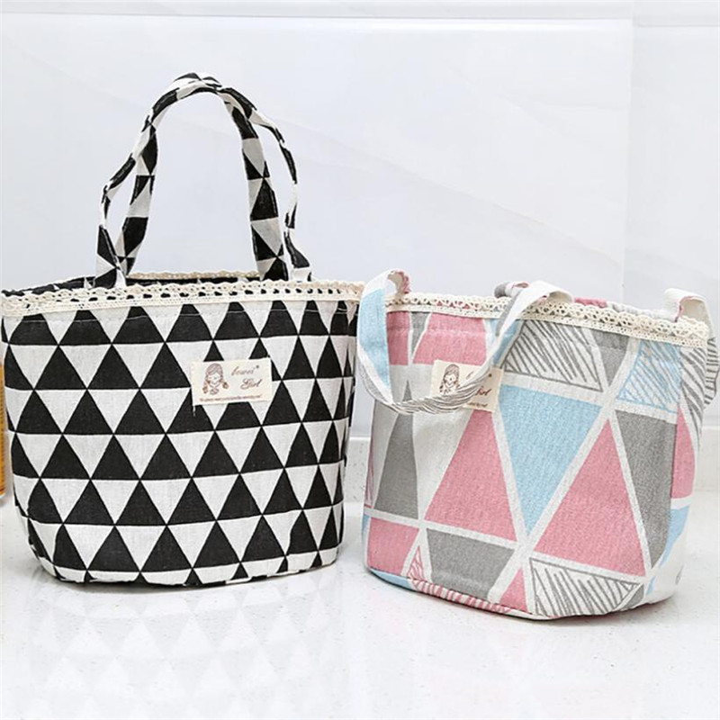 Color Geometry Print Thermal Insulated Lunch Box Tote Cooler Bag Bento Pouch Lunch Container Bag Office Outdoor Carrier Pouch