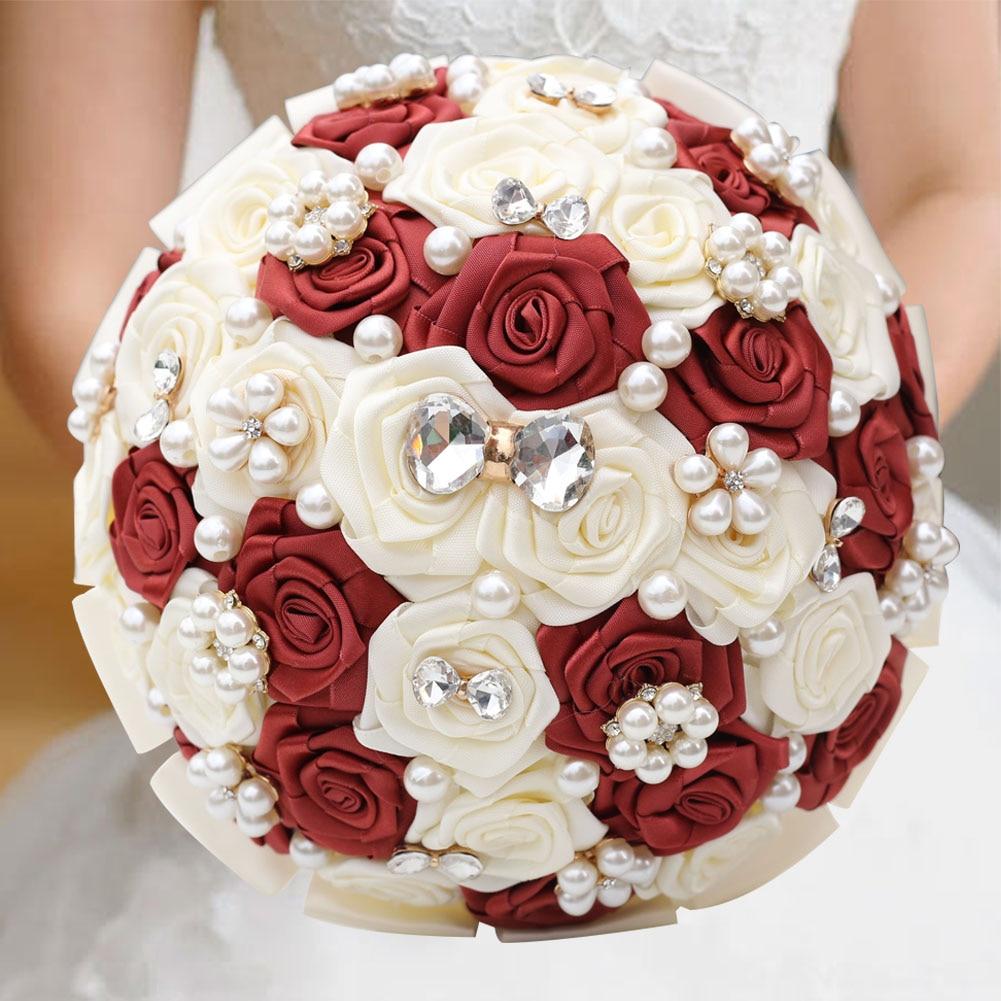 21cm Customizable Artificial Pearls Crystal Wedding Bouquets Bridesmaid Hand Hold Flower Silk Ribbon Bridal Wedding Bouquet W128