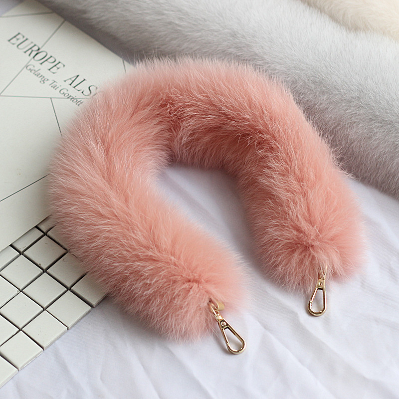Fashionable fur strap fittings real fox fur handbag bag fur shoulder strap Women Bag Belts Shoulder Belt Bag Accessories Parts