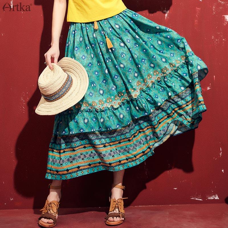 ARTKA 2019 Spring High Waist A line Skirt Parrot Green Fashion Pleated Tassel Long Skirt Bohemia