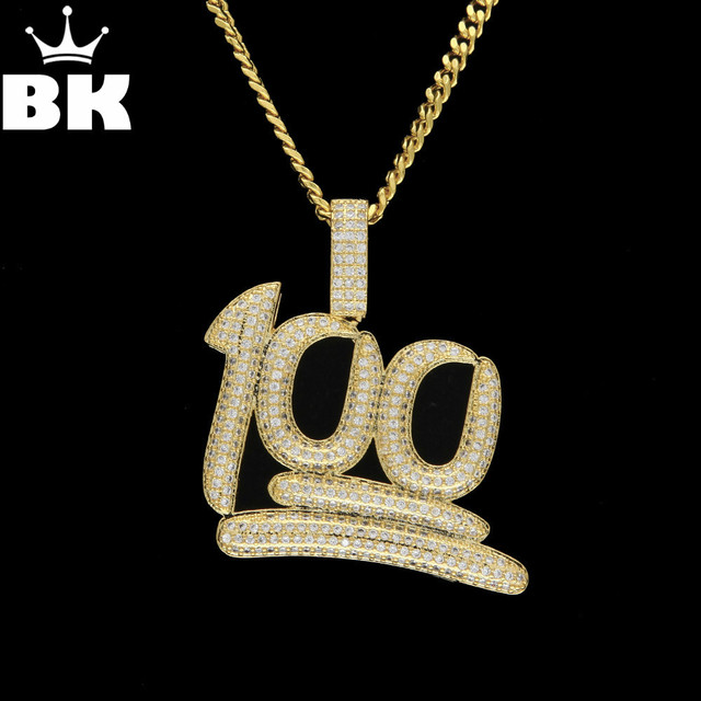 bb43cd6eeff0a US $12.14 19% OFF|Copper 100 Emoji Pendant Necklace Micro Paved Cubic  Zircon Gold Silver Plated 100 Score Hip Hop Women Mens Jewelry -in Pendant  ...
