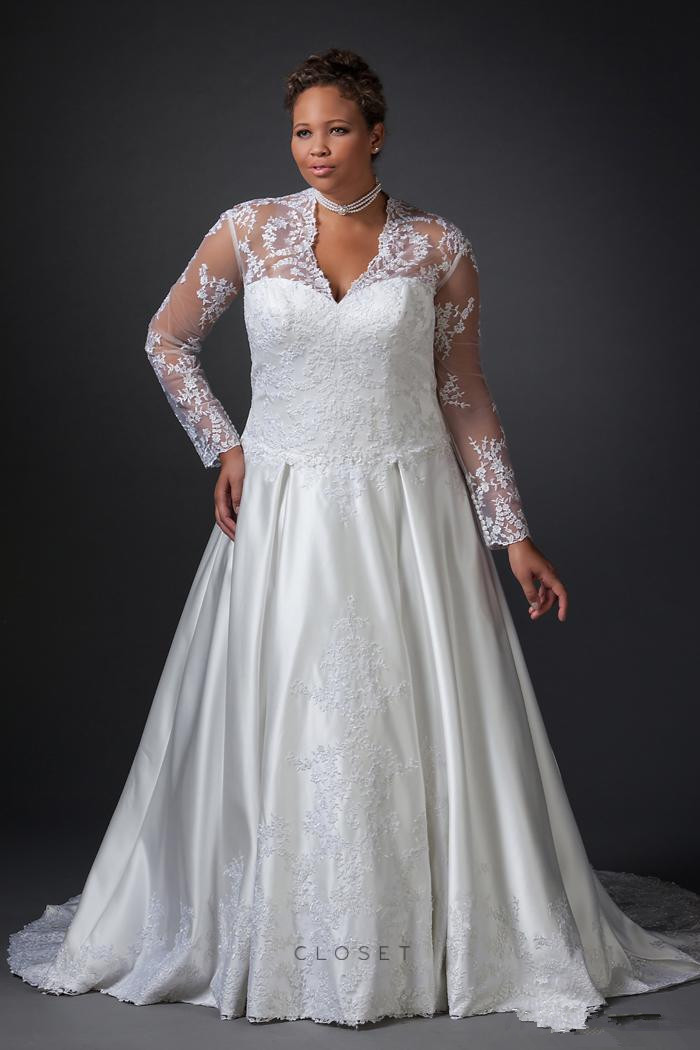 Vestido De Noiva Plus Size Wedding Dresses Large Women Bride With Long Sleeves See Through Back Bridal Gown In From Weddings