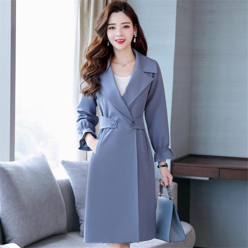 bf60eed8f Femmes La Style Manteau Tan Moyen gray Taille Long Blue Mince Cm1088 ...
