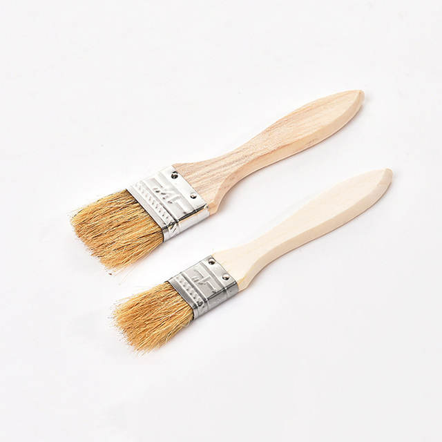 Barbecue Grill BBQ Brush Wood Handle Silicone Butter Bread