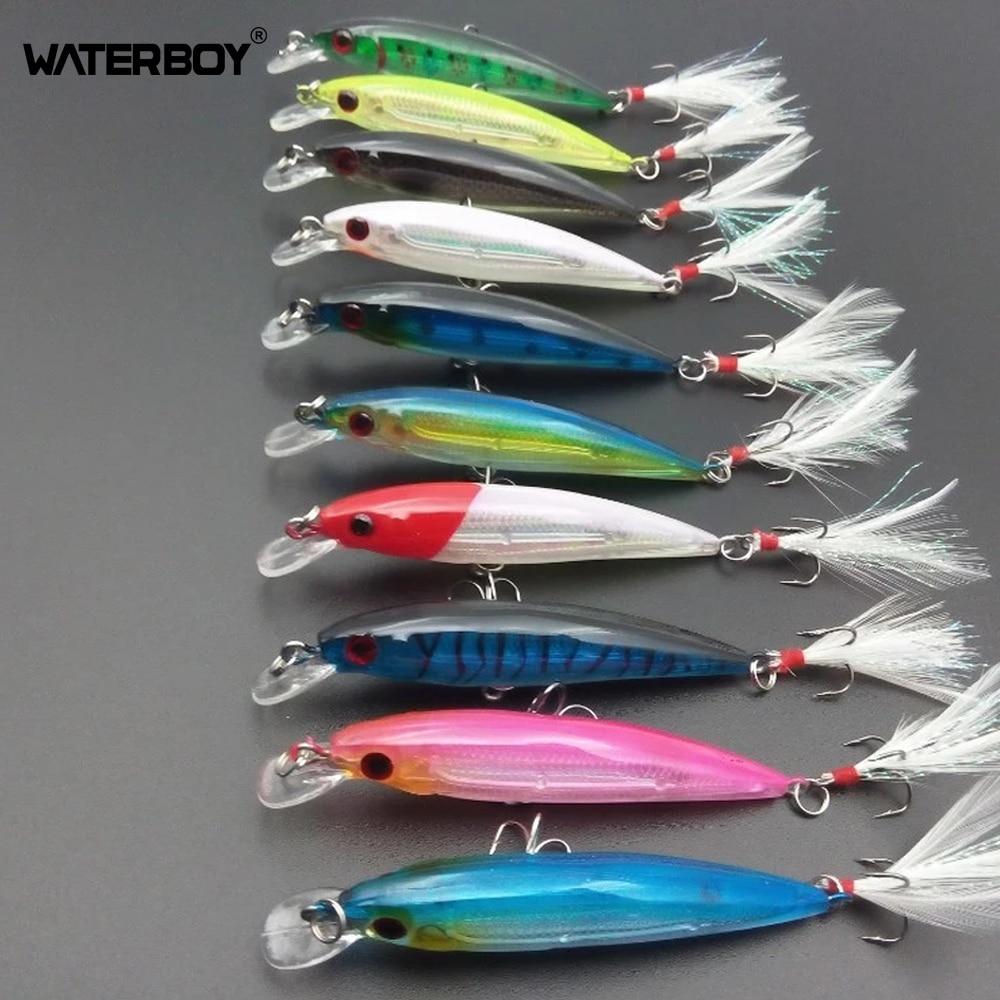 WATERBOY 10pcs Minnow Fishing Lure Swim Hard Bait 9cm 8g Artificial Plastic Feather Wobbler Bait Crankbait Fishing Tackle