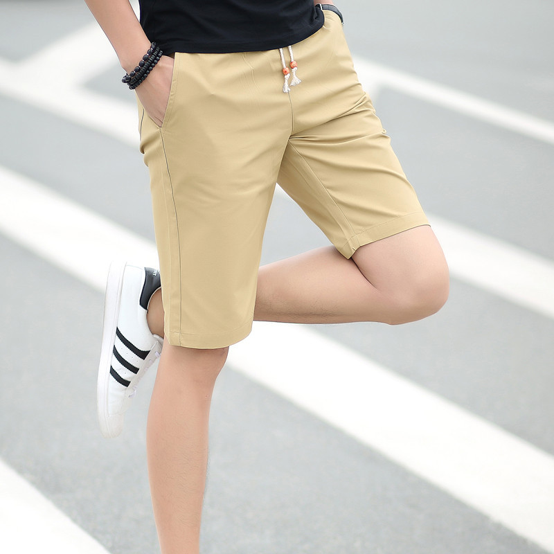 Uwback 2018 Summer Casual   Shorts   Men Fashion Boardshorts Khaki Black Cotton   Shorts   Elastic Waist Slim Bermuda Homme M-5XL XA603