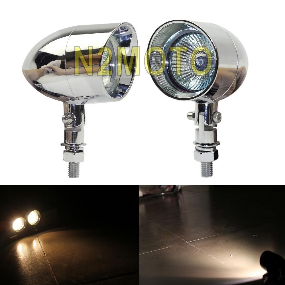 "Spotlight Headlight: Pair 2.3"" Chrome Motorcycles Spotlight Mini Headlamp"