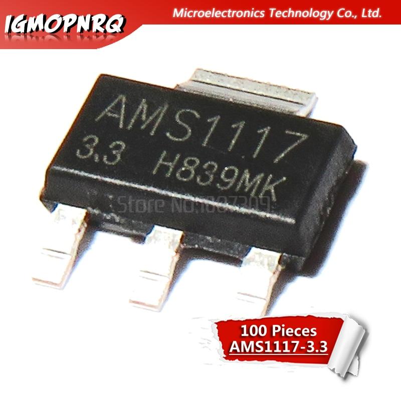 100pcs AMS1117-3.3 AMS1117 3.3V 1A SOT-223 Voltage Regulato New Original
