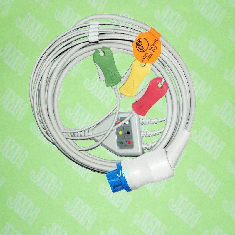 Compatibile con pin Datex-Ohmeda ECG Macchina un pezzo 3 cavo di piombo e clip leadwire, IEC o AHA.Compatibile con pin Datex-Ohmeda ECG Macchina un pezzo 3 cavo di piombo e clip leadwire, IEC o AHA.