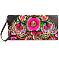 National Ethnic Embroidered Bag Handmade Cowhide Leather Bag Embroidery Leather Wallets Purse Clutch Cross Body Small
