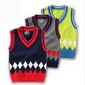 2016 Meninos Outono Inverno Camisolas Dos Miúdos Das Crianças Do Bebê de Malha Pullover Quente Outerwear Camisola Colete