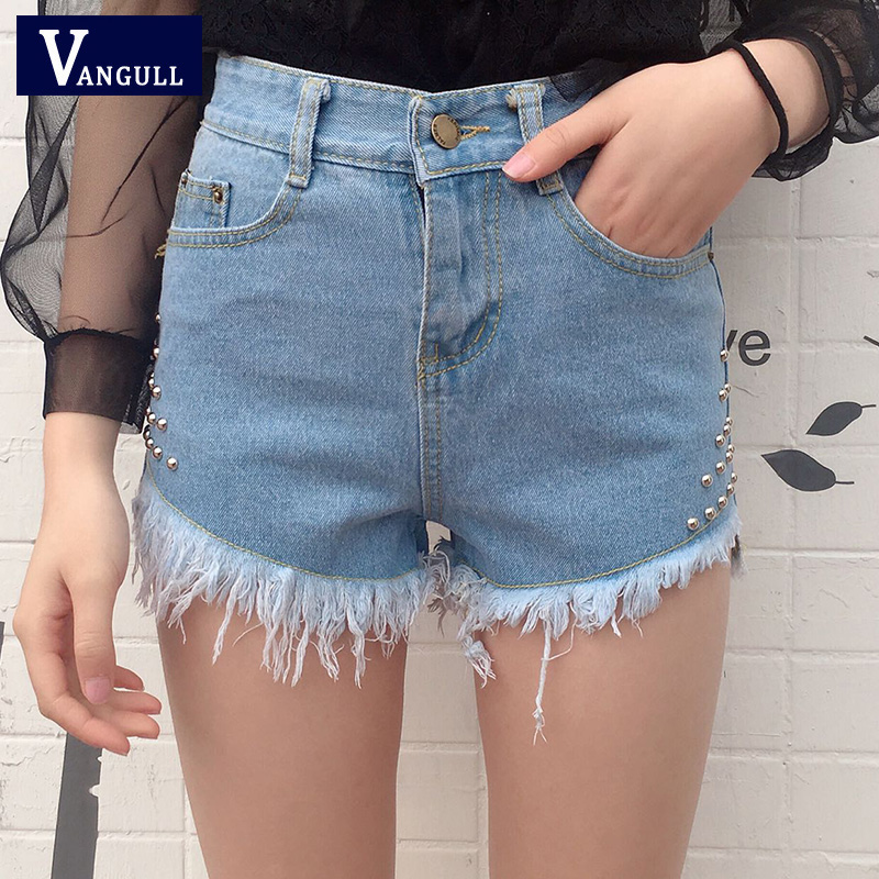 vintage high waist tassel rivet denim shorts women europe. Black Bedroom Furniture Sets. Home Design Ideas