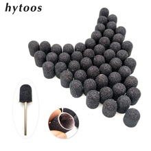 50Pcs 10*15mm Black Textile Sanding Caps With Grip Pedicure Care Polishing Sand Block Drill Accessories Foot Cuticle Tool