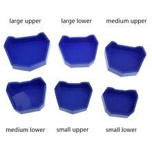 6 шт. Стоматологическая лабораторная штукатурка модель база бывший формы лоток стоматолога Инструмент Синий 3 размера(Большой/средний/маленький