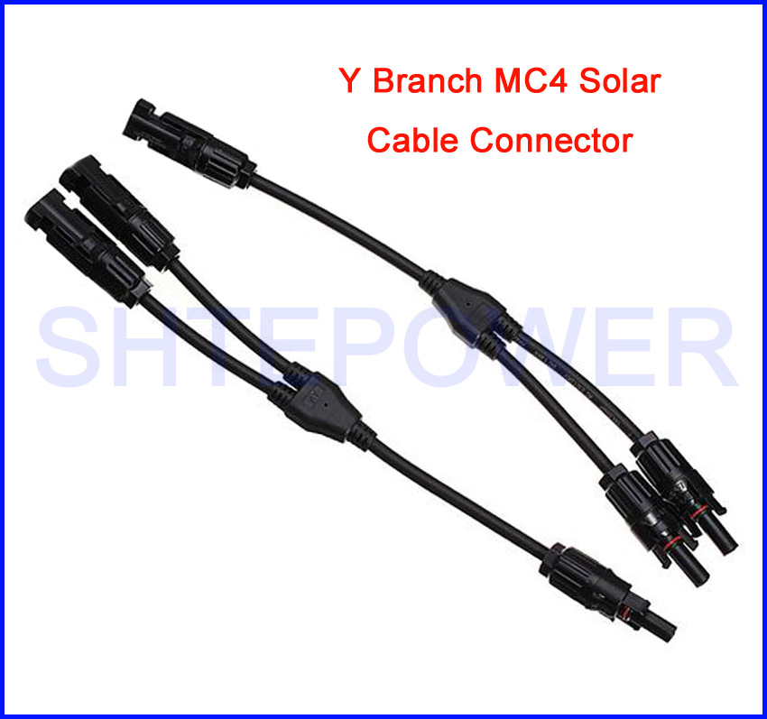 1 Pair Y Type PV Solar Panel Cable Connectors MC4 Male Female M//F Wire Branch