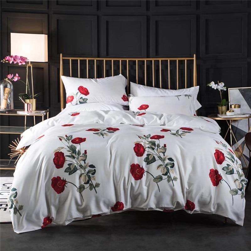 Romantic Red Roses 60S Long-staple cotton White Bedding Set Duvet Cover Bed Linen Bedsheet Pillowcases King Queen Size 4pcs