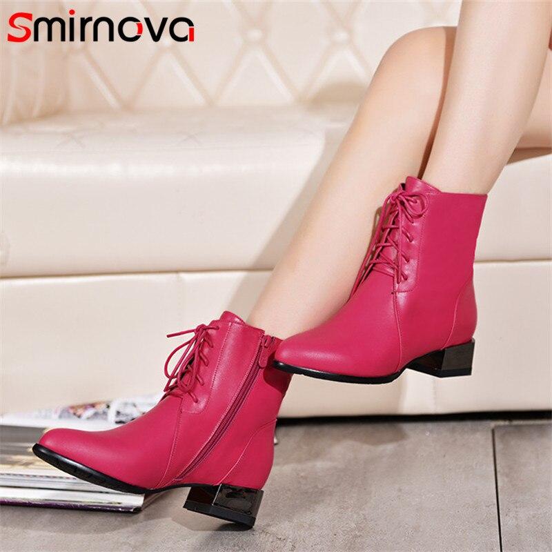 Smirnova vente CHAUDE 2018 de mode en cuir véritable femme bottes med talon casual lace up bottines noir automne hiver bottes dames