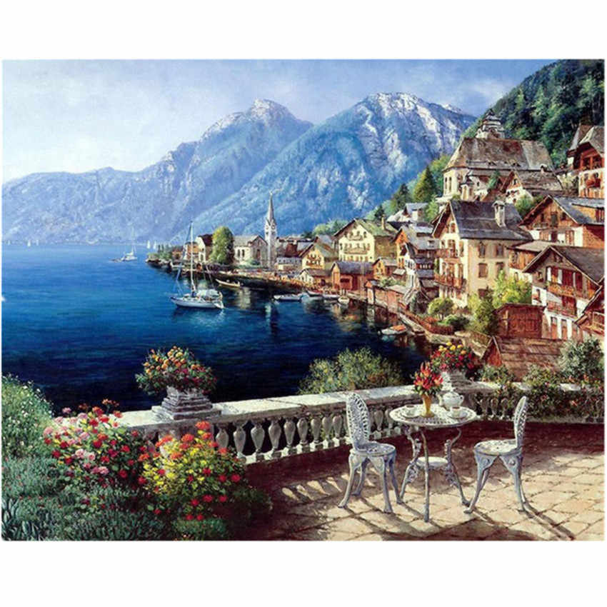 WEEN Paint by number Kits for adults,DIY Painting by numbers on canvas,High-quality Acrylic Paint 16x20inch-Water town and boat