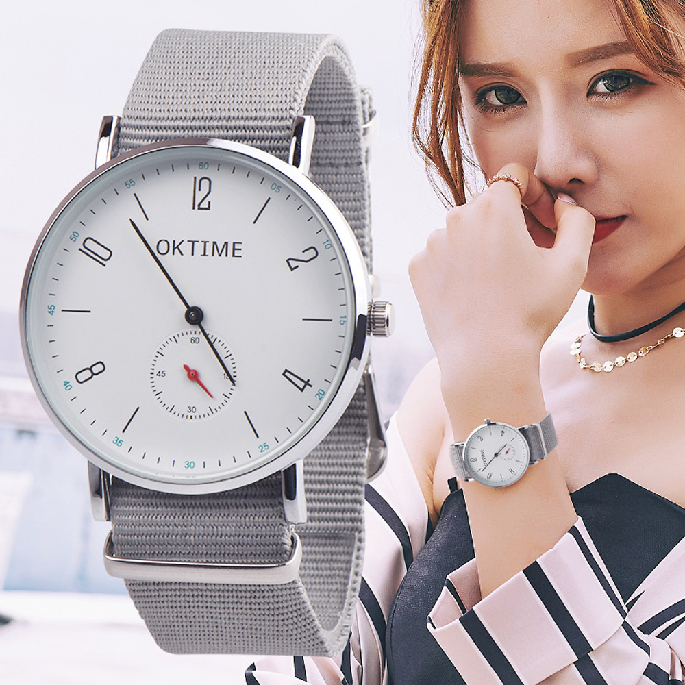 OKTIME Watches Womens Men Unisex Simple Casual Canvas Leather Analog Quartz Watch For Lover's Watches Relojes de mujer