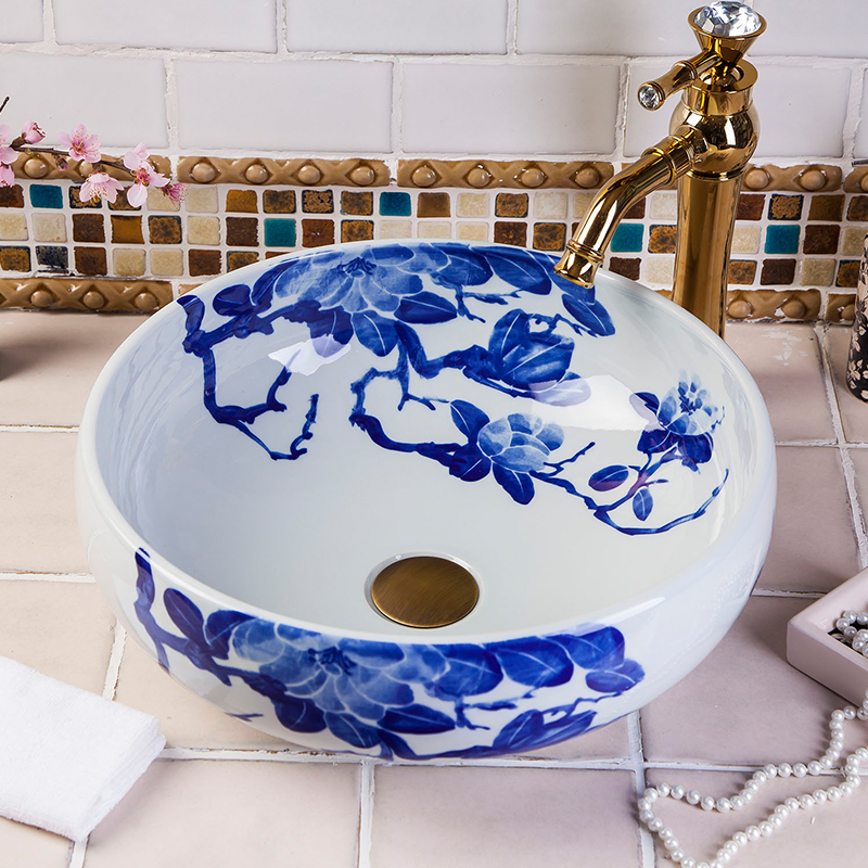 Jingdezhen Hand Painted Blue And White Ceramic basin for home and restaurant jennifer taylor home sofa bed hand tufted hand painted and hand rub finished wooden legs 65000 584 859 865