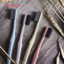 2017 4pcs Creative Adult Soft Toothbrush Portable Wheat Straw Tooth Cleaning Charcoal Bristle Brush with Travel Storage Case