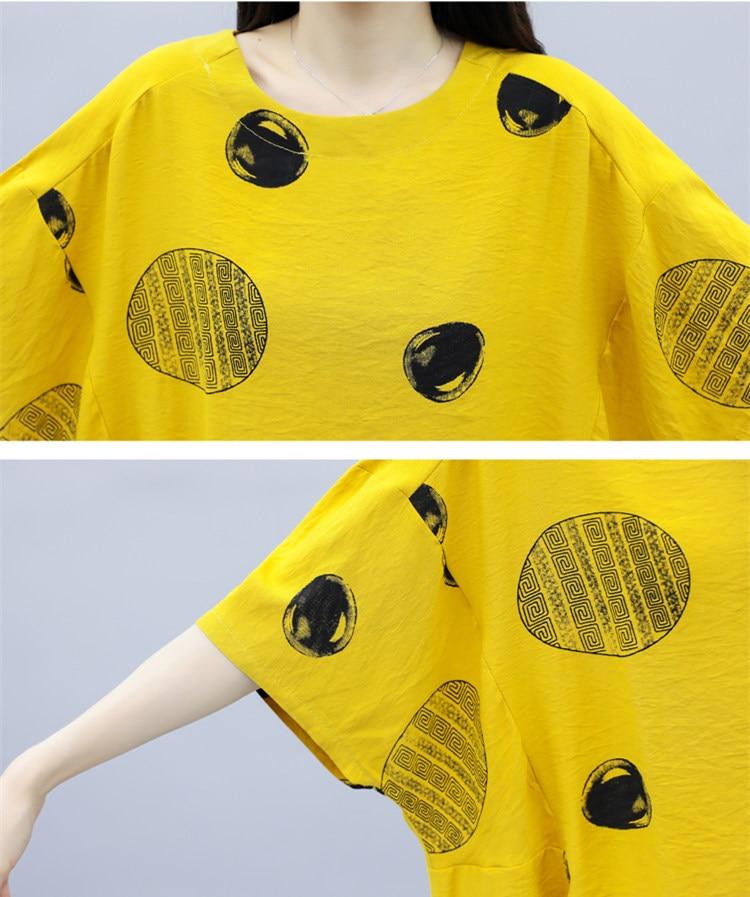 Summer Cotton Linen Two Piece Sets Outfits Women Plus Size Dot Print Tops And Harem Pants Suits Casual Vintage Loose 2 Piece Set 46