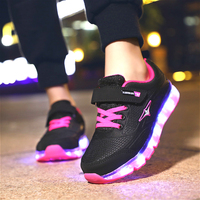Colourful USB Charging Shoes Luminous Sneakers LED Slippers Light Up Girl Led Shoes Infant Glowing Sneakers zapatos de ninos