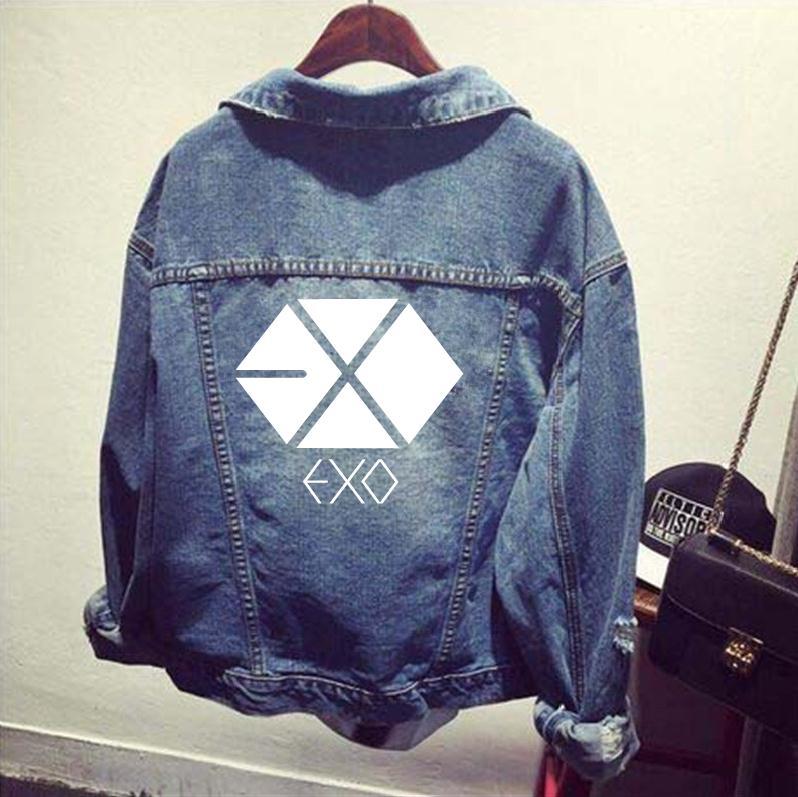 2017 Новый KPOP EXO EXO K EXO M рубашка джинсовая рваная куртка пальто Женская бейсбольная k pop EXO L весенне осенняя одежда топы, верхняя одежда