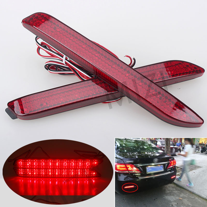 2PCS LED Rear Bumper Reflector Light Parking Warning Stop Brake Lights Tail Light For Toyota Camry