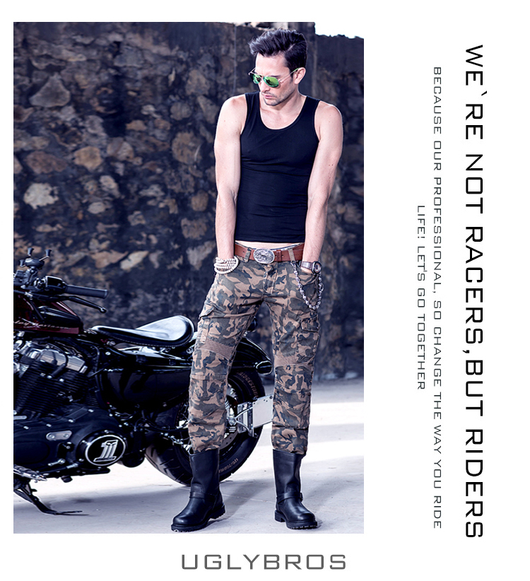 2016 Newest CoolUglyBROS motorpool camo man's jeans camouflage leisure riding a motorcycle pants jeans boy jeans good quality drawstring spliced camo jogger pants