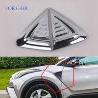 2PCS SET ABS CHROME Car Side Wing Fender Air Guide Trim Sticker FIT For Toyota C