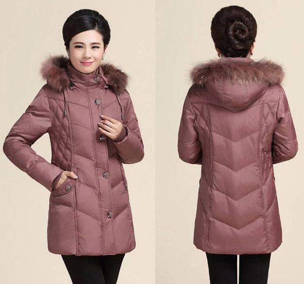 2014 Middle-Aged Ladies Raccoon Fur Collar Hooded Down Coat WomenS Covered Zipper Rib Sleeve Down Jacket Plus Size 5XL H2966
