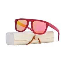 0d9489338e Vintage polarizadas rojo gafas de sol para mujer marco de bambú gafas de sol  hombres caso de madera de playa anti-UV gafas para .