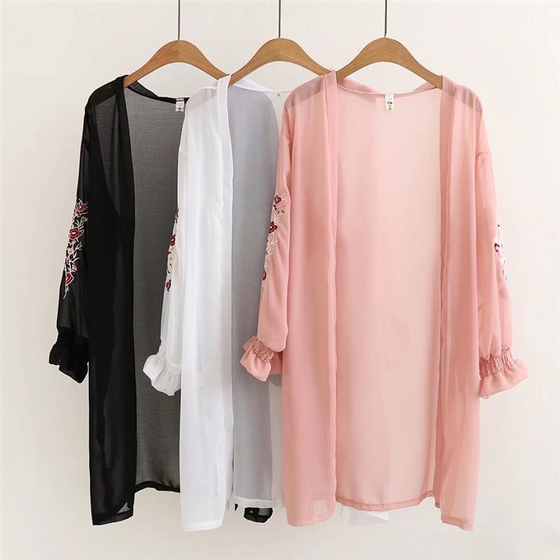 Mikialong Kimono Cardigan 2018 Summer Cardigan Floral Embroidery Long Kimono Black White Chiffon Womens <font><b>Blouses</b></font> and Tops
