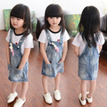 Retail!1 set Top Quality spring summer girl strap denim Skirts casual Skirts fashion mini dress lovely fashion Skirts 3-8Y
