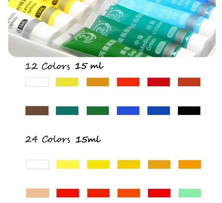 1224 cores 15 ml pintura acrílica conjunto