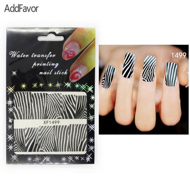 AddFavor 4PCS Nail Art Stickers Zebra Strip Gel Fingernail Beauty ...
