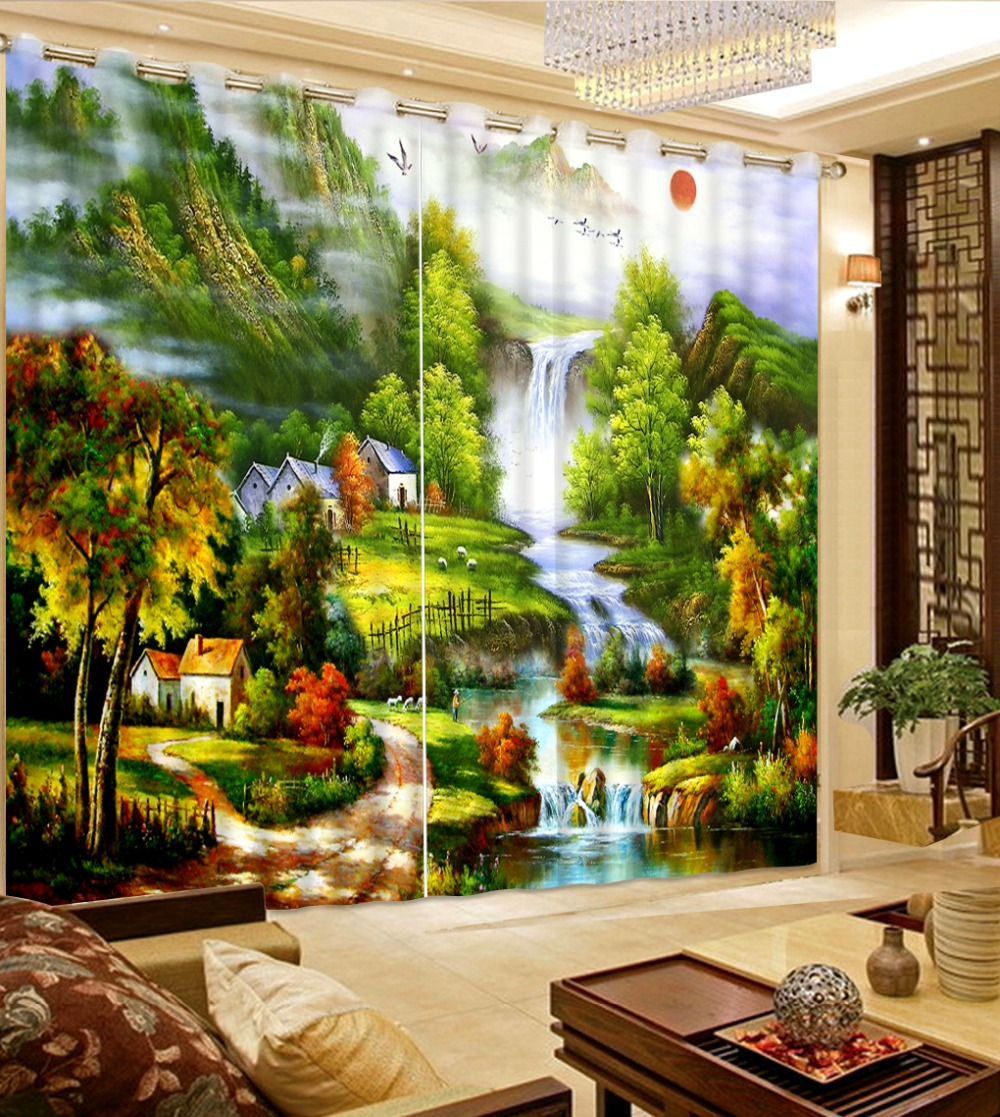 Classic Home Decor 3D Curtain Custom Curtain Oil Painting Sunrise Rural Nature Landscape Bed Room Living Room Hotel CortinasClassic Home Decor 3D Curtain Custom Curtain Oil Painting Sunrise Rural Nature Landscape Bed Room Living Room Hotel Cortinas