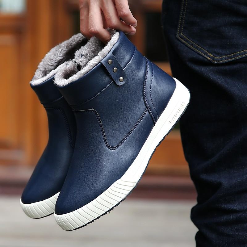 a36456878 Neve Pele Casuais Com Quente Da Inverno Botas Couro Homens Sapatos Trabalho  Prova Brown D' Ankle Dos azul De ...