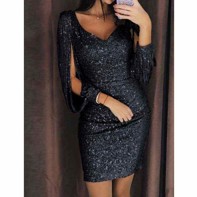58040ba1ab Detail Feedback Questions about Black Glitter Dress Mini V Neck Long ...