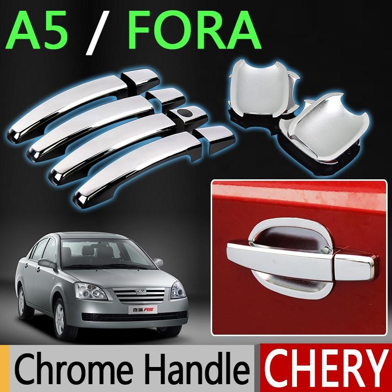 For Chery A5 Fora Accessories Chrome Door Handle Alia Elara MVM 520 530 Vortex Estina 2007 2008 2009 2010 Stickers Car Styling