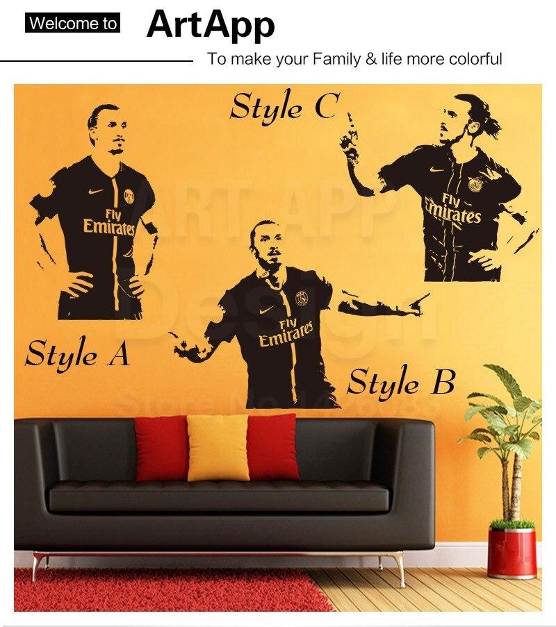 Art new design home decor vinyl football Zlatan wall sticker ...