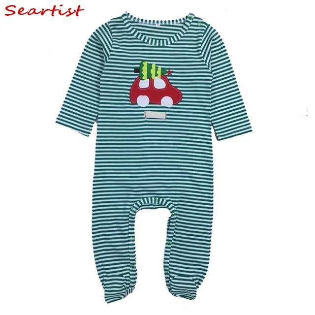 0fbb092bf8 Seartist Newborn Christmas Footies Jumpsuit Kids X mas Striped Pajamas  Bebes Winter Footed Body Suit Baby Boy Girl Clothes 20C