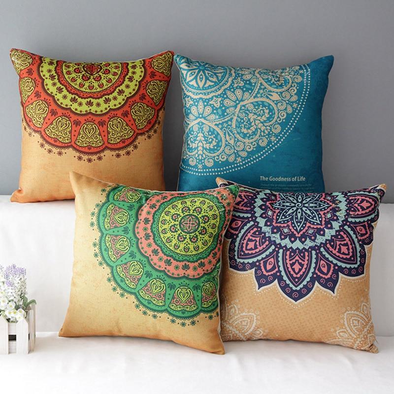Elegante algod n patr n estilo indio cojines asiento 45 cm x 45 cm cuadrado textil de hogar - Cojines indios ...