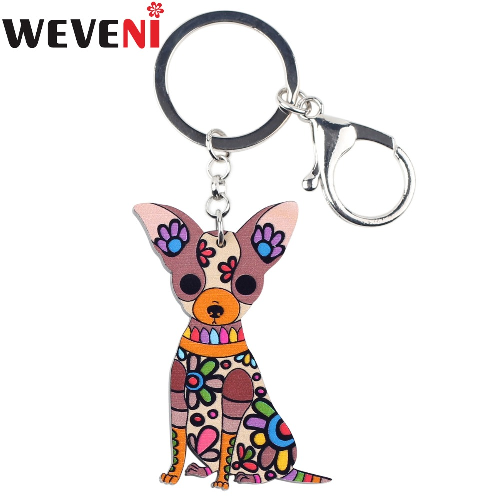 WEVENI Original Acrylic Chihuahua Dog Key Chain Key Ring Bag Charm Car Keychain Accessories New Fashion Jewelry For Women