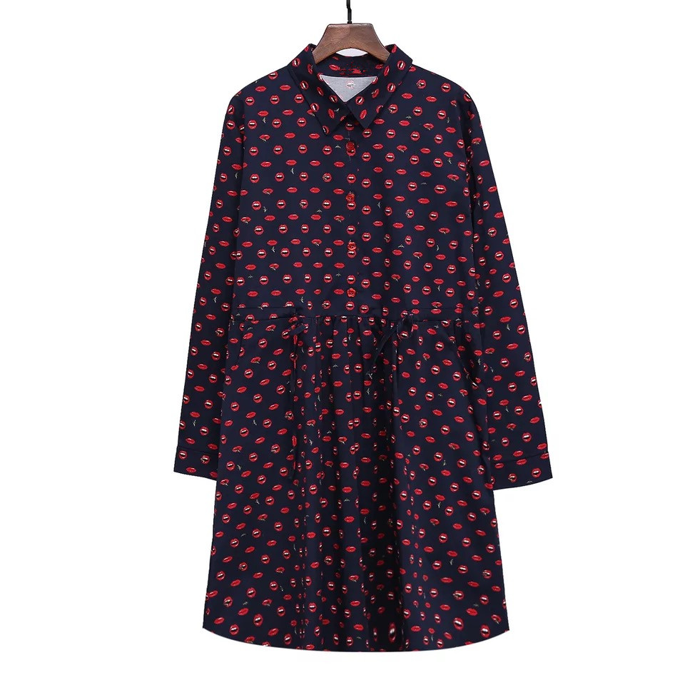 Fashion new shirt-collar dress xxxxl plus size women