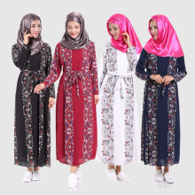 2016 New Muslim Clothing Islamic Chiffon Long Dress Slim Waist Long Sleeve Robes Malaysia Indonesia Fashiob Clothing abaya