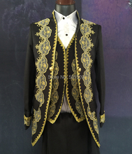 black white golden mens period costume Medieval Renaissance stage performance Prince charming William