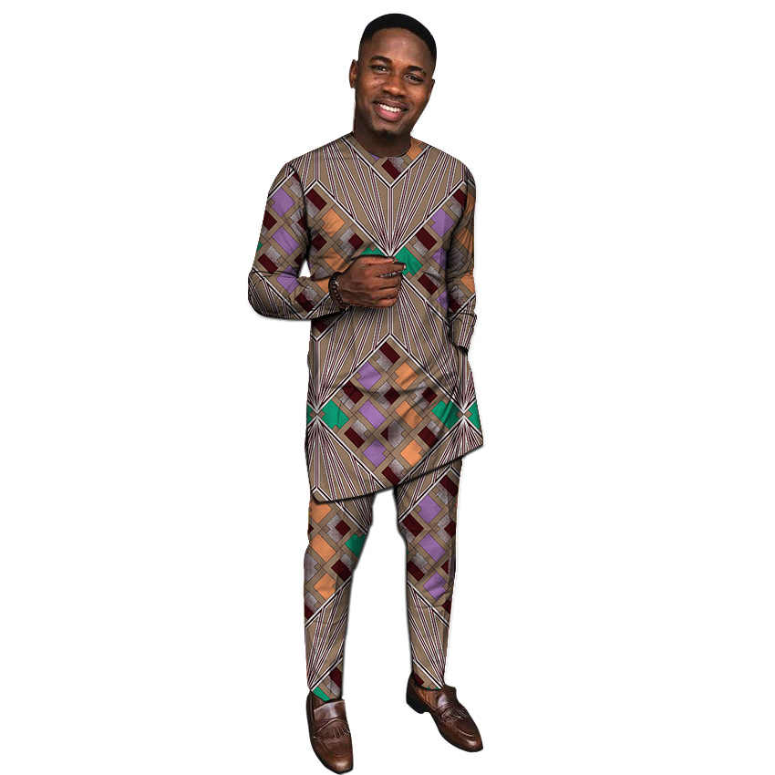 Ropa africana para hombre Camisas con pantalones moda Dashiki Tops + Pantalones a medida conjunto de pantalones africanos para hombre fiesta