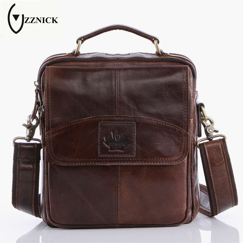ZZNICK New Fashion Genuine Leather Man Messenger Bas